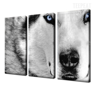 White Wolf Painting - 3 Piece Canvas