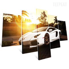 White Supercar Before The Rising Sun - 5 Piece Canvas Painting