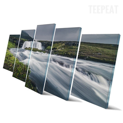 Green Mountain And Crystal Clear River Landscape View - 5 Piece Canvas