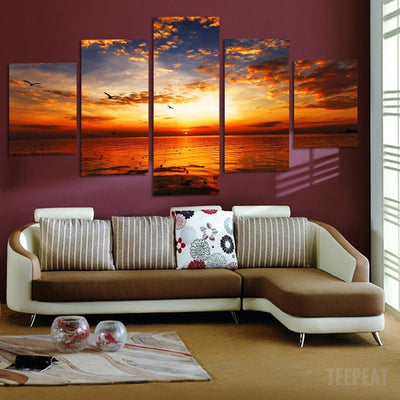 Sea Sunset Painting - 5 Piece Canvas-Canvas-TEEPEAT