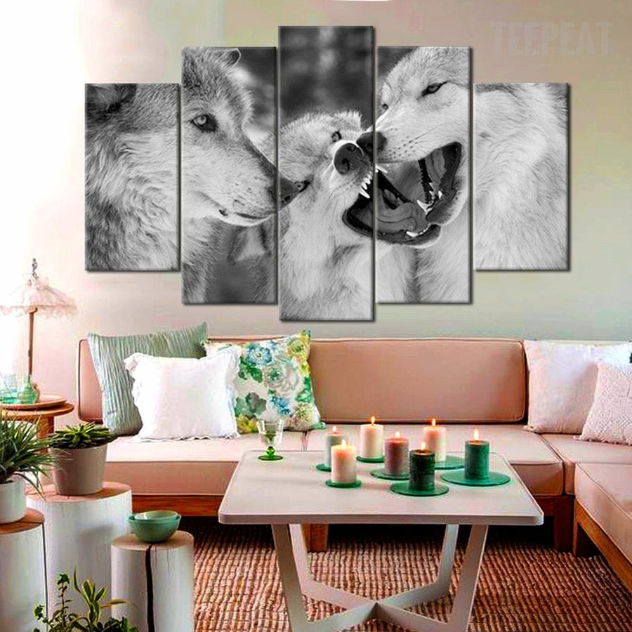 Wolf Pack Painting - 5 Piece Canvas