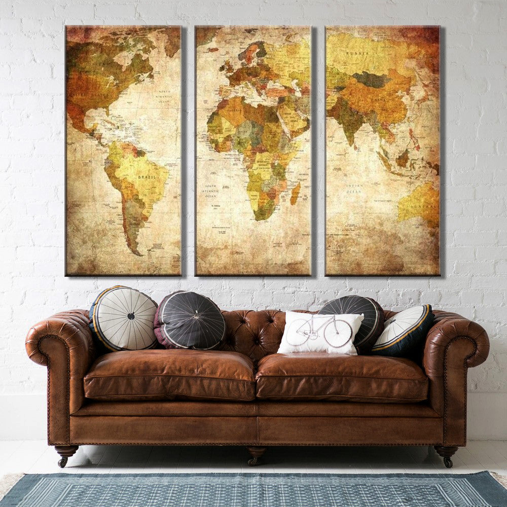 World Map - 3 Piece Canvas Painting - Empire Prints