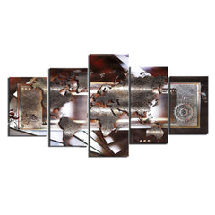 World Map Figure - 5 Piece Canvas Painting