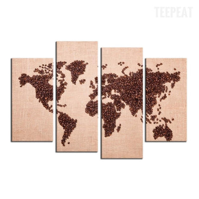 World Map Painting - 4 Piece Canvas