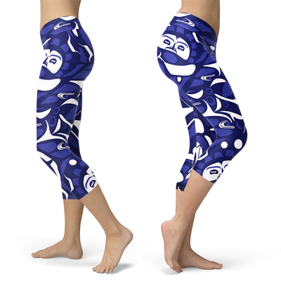 Blue and White Native Pattern Capris