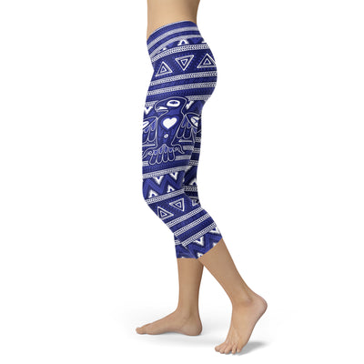 White and Blue Native Bird Pattern Capris