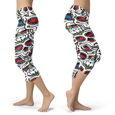Colorful Sugar Skull Capris