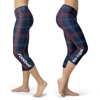 New England Plaid Football Capris