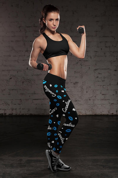 Carolina Lovin Kisses Football Leggings