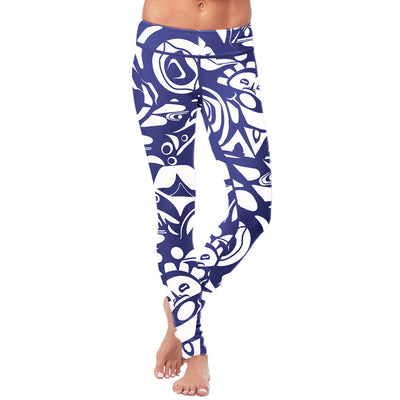 White and Blue Native Pattern Leggings