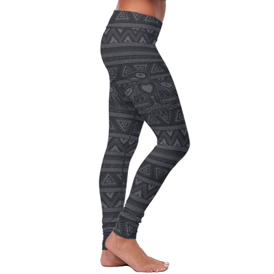 Black Native Bird Pattern Leggings