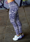White and Blue Native Bird Pattern Leggings