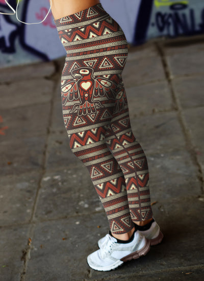 Brown and Orange Native Bird Pattern Leggings