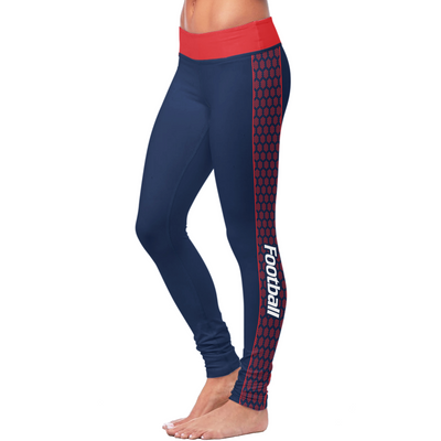 New England Honeycomb Stripe Football Leggings