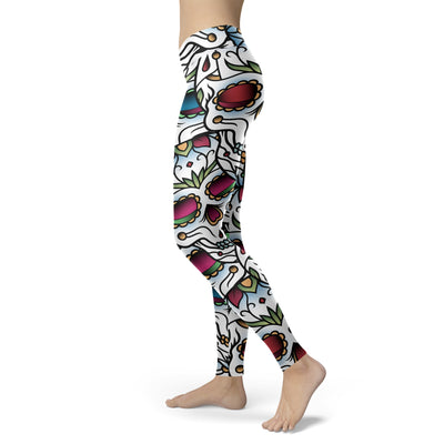 Colorful Sugar Skull Leggings