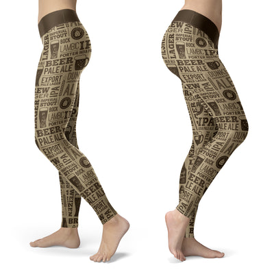 Vintage Beer Pattern Leggings