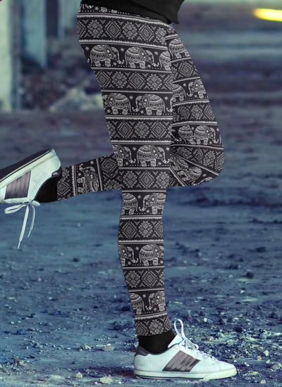 Black Tribal Elephant Leggings
