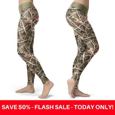 Realistic Branches and Leaves Camo Leggings
