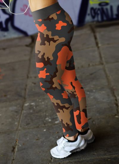 Orange Camo Leggings
