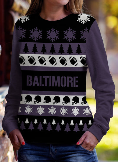 Baltimore Football Ugly Christmas Sweatshirt