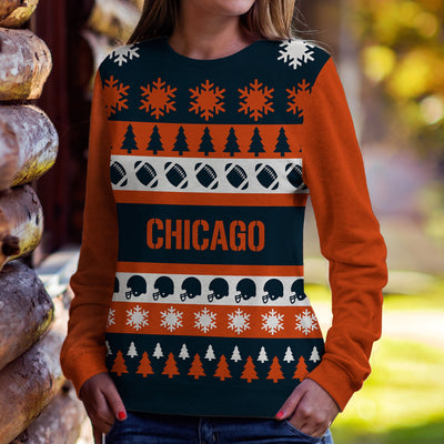 Chicago Football Ugly Christmas Sweatshirt