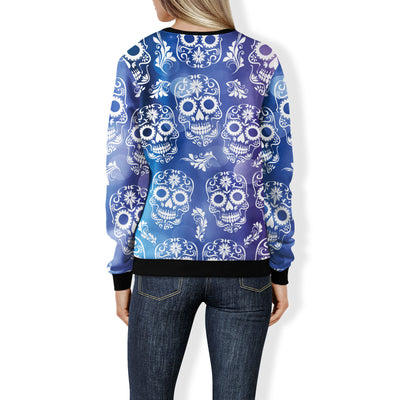 Blue and Purple Sugar Skull Sweatshirt