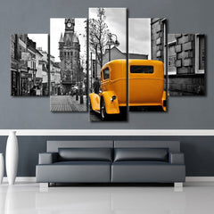 Yellow Vintage Car in the City - 5 piece canvas