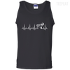 CustomCat Apparel 100% Cotton Tank Top / Black / Small Cardiogram Dog Tee