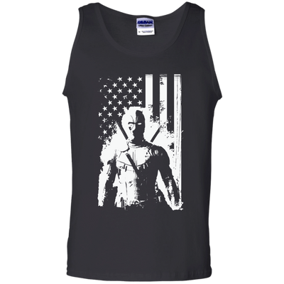 CustomCat Apparel 100% Cotton Tank Top / Black / Small Deadpool Flag Tee