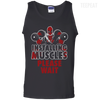 CustomCat Apparel 100% Cotton Tank Top / Black / Small Deadpool Installing Muscles Tee