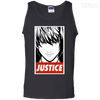 CustomCat Apparel 100% Cotton Tank Top / Black / Small Death Note Justice Tee