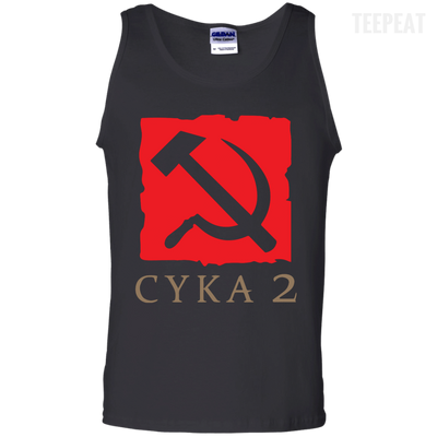 CustomCat Apparel 100% Cotton Tank Top / Black / Small Dota 2 Soviet Cyka Tee