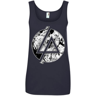 CustomCat Apparel 882L Anvil Ladies' 100% Ringspun Cotton Tank Top / Navy / Small Chester Linkin Park Logo Ladies Tee