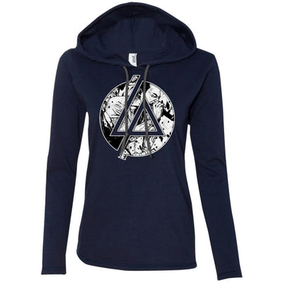 CustomCat Apparel 887L Anvil Ladies' LS T-Shirt Hoodie / Navy/Dark Grey / Small Chester Linkin Park Logo Ladies Tee