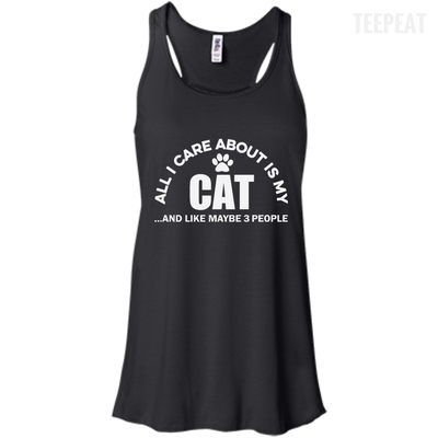 CustomCat Apparel Bella+Canvas Flowy Racerback Tank / Black / X-Small All I Care About Is My Cat Women Tee
