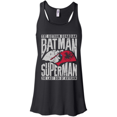 CustomCat Apparel Bella+Canvas Flowy Racerback Tank / Black / X-Small Batman and Superman Ladies Tee