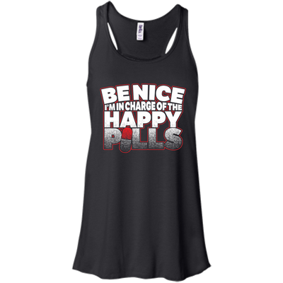 CustomCat Apparel Bella+Canvas Flowy Racerback Tank / Black / X-Small Be Nice Ladies Tee