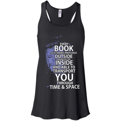 CustomCat Apparel Bella+Canvas Flowy Racerback Tank / Black / X-Small Book Tardis Ladies Tee