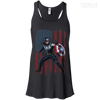 CustomCat Apparel Bella+Canvas Flowy Racerback Tank / Black / X-Small Captain America Ladies Tee