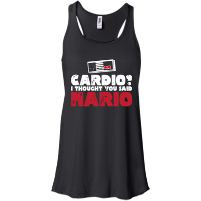 CustomCat Apparel Bella+Canvas Flowy Racerback Tank / Black / X-Small Cardio I Thought You Said Mario Ladies Tee