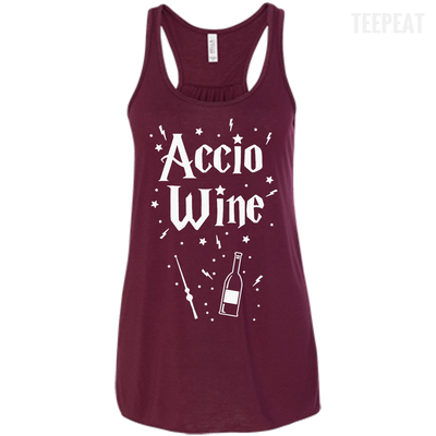 CustomCat Apparel Bella+Canvas Flowy Racerback Tank / Maroon / X-Small Accio Wine Tee