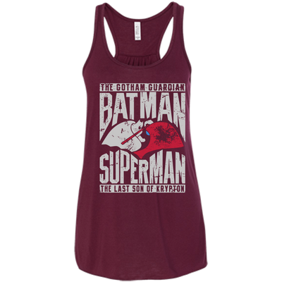 CustomCat Apparel Bella+Canvas Flowy Racerback Tank / Maroon / X-Small Batman and Superman Ladies Tee