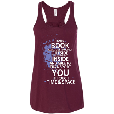 CustomCat Apparel Bella+Canvas Flowy Racerback Tank / Maroon / X-Small Book Tardis Ladies Tee