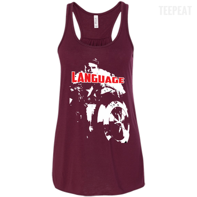 CustomCat Apparel Bella+Canvas Flowy Racerback Tank / Maroon / X-Small Captain America Language Ladies Tee