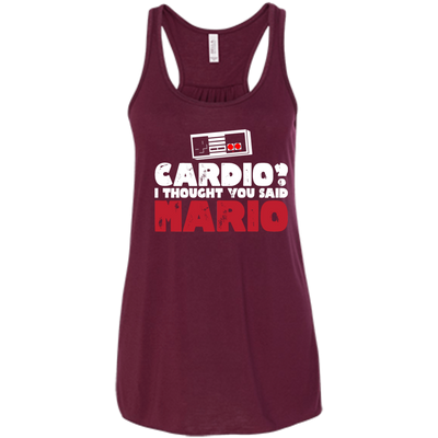 CustomCat Apparel Bella+Canvas Flowy Racerback Tank / Maroon / X-Small Cardio I Thought You Said Mario Ladies Tee