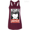 CustomCat Apparel Bella+Canvas Flowy Racerback Tank / Maroon / X-Small Death Note Justice Ladies Tee