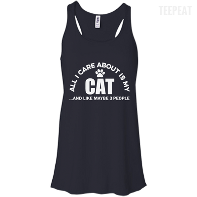 CustomCat Apparel Bella+Canvas Flowy Racerback Tank / Midnight / X-Small All I Care About Is My Cat Women Tee