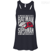 CustomCat Apparel Bella+Canvas Flowy Racerback Tank / Midnight / X-Small Batman and Superman Ladies Tee