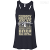 CustomCat Apparel Bella+Canvas Flowy Racerback Tank / Midnight / X-Small Bitch Here You Are Ladies Tee
