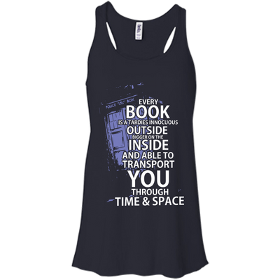 CustomCat Apparel Bella+Canvas Flowy Racerback Tank / Midnight / X-Small Book Tardis Ladies Tee